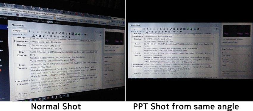 Vivo V7 Plus Camera PPT Mode