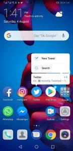 Huawei P20 Pro Home Screen Context Menu