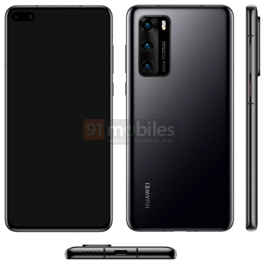 Huawei P40 Leaked Render