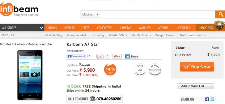 Karbonn A7 Star for Rs 5,990 with 4.5-inch display and dual-SIM