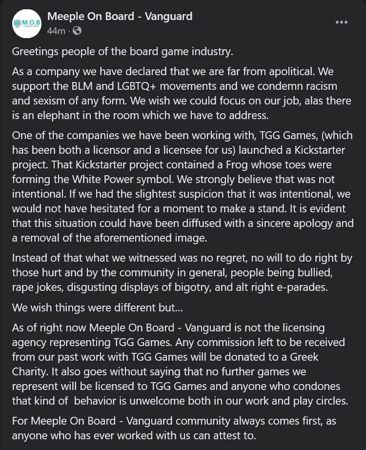 The text of Meeple on Board Vanguard's official statement on TGG