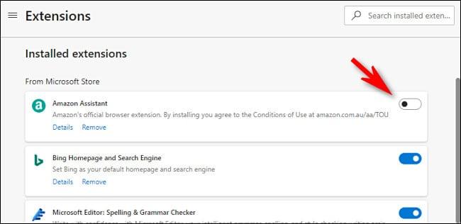 Uninstall Deactivate Extensions Microsoft Edge