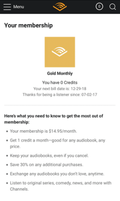 Cancel Audible Subscription Android