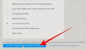 cancel world of warcraft subscription
