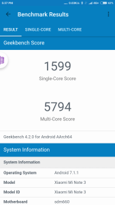 Geekbench Xiaomi Mi Note 3