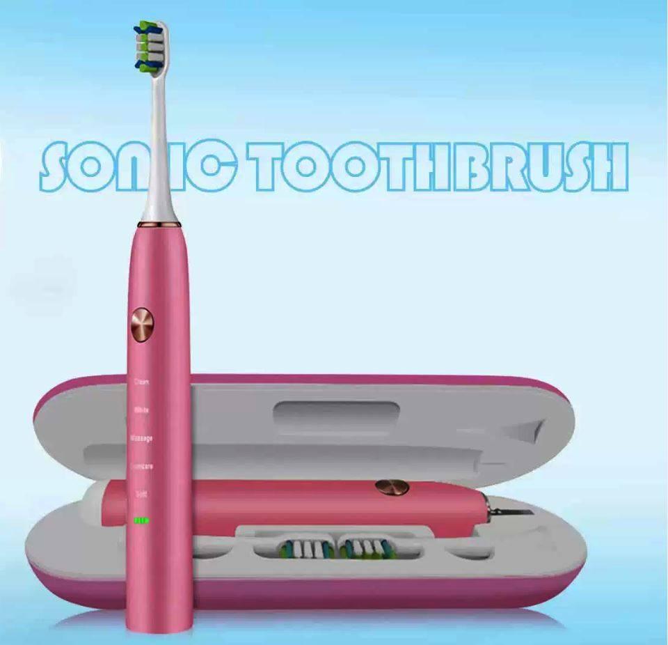 CintyB Sonic Electric Toothbrush فرشاة اسنان كهربائية مع 6 رؤوس وجنطة لشحن الفرشاة Sonic Electric Toothbrush Smart Techs, Better Living