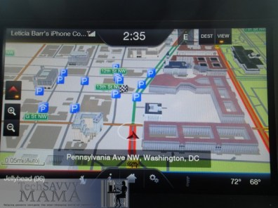 Ford Escape's visual navigation features buildings along your route