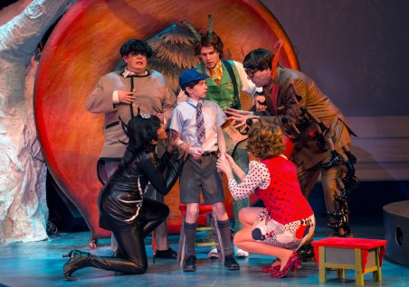 James discover the Bugs inside the peach in James and the Giant Peach at Imagination Stage. Clockwise L to R: Lauren Du Pree as Miss Spider, Phillip Reid as Earthworm, Ian Berlin as James, Matthew Schleigh as Grasshopper, Eric Messner as Centipede, and Leigh Jameson as Ladybug.