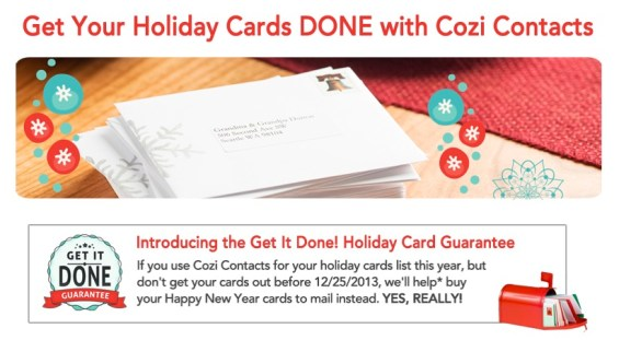 Cozi Contacts Holiday Card Guarantee