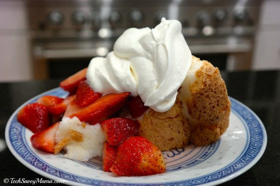 Strawberries and Whipped Cream Over Angel Food Cake