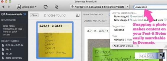 Evernote provide automatic organization through searchable Post-it Notes