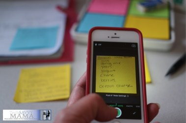 Snap a photo of a Post-it Note and add it to a shared Evernote notebook.