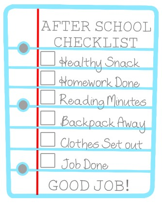 After School Checklist from PrettyProvidence.com