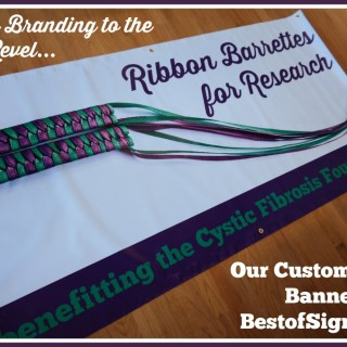 Ribbon Barrettes for Research Takes Branding to the Next Level with a Custom Vinyl Banner from BestofSigns.com