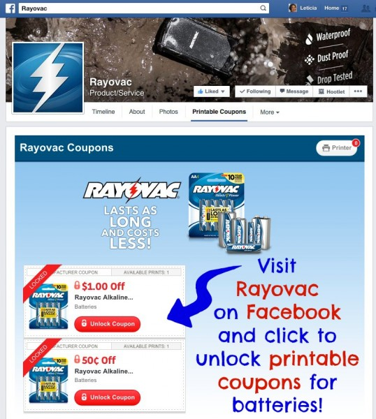 Rayovac Printable Coupons on Facebook