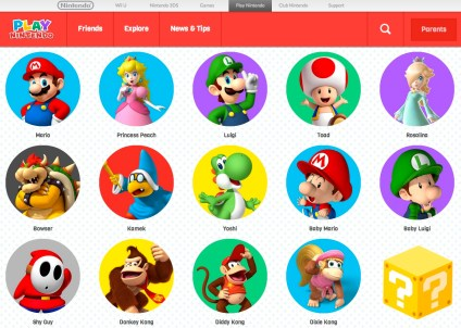 Play Nintendo: Find content according to favorite characters