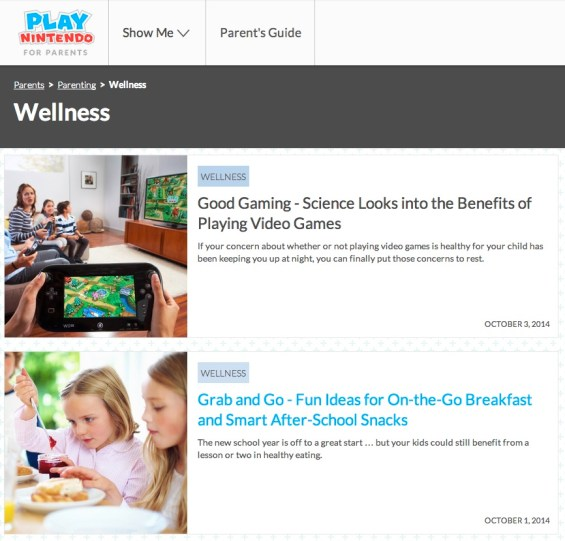 Nintendo Play Parents' Site- Wellness and Gaming