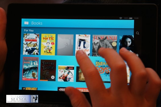 Book selection on Amazon's Fire HD Kids Edition