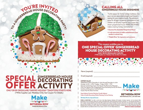$9.99 Gingerbread House Decorating Promotion at Make Meaning Bethesda Row