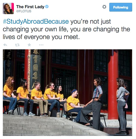 First Lady Michelle Obama Tweets about #StudyAbroadBecause