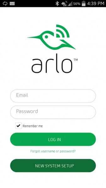 Netgear's Arlo Smart Home Security Camera App Login Screen