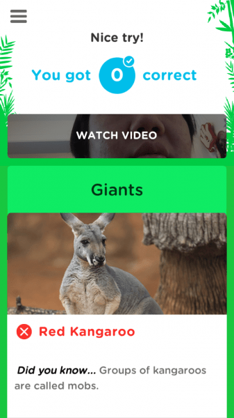 Free TailsUp! App Teaches Conservation Through Game Play - End of Round Animal Trivia