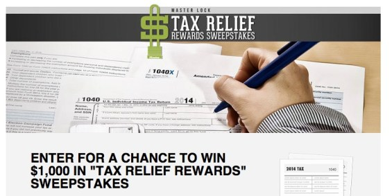 Master Lock Tax Relief Reward Sweepstakes