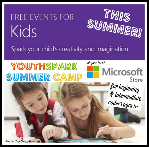 Free Microsoft YouthSpark Summer Camp for Beginning and Experienced Coders at Microsoft Stores Near You. Details on TechSavvyMama.com