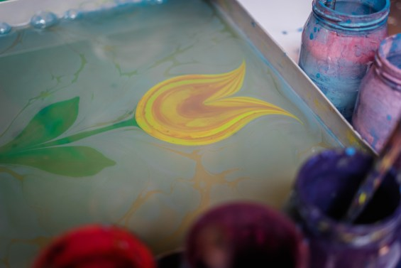 Tulip in Detail During Ebru Marble Painting