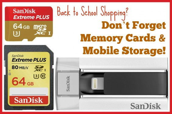 SanDisk Memory Cards & Mobile Storage for Back to School. Details on why you need both for the school year on TechSavvyMama.com