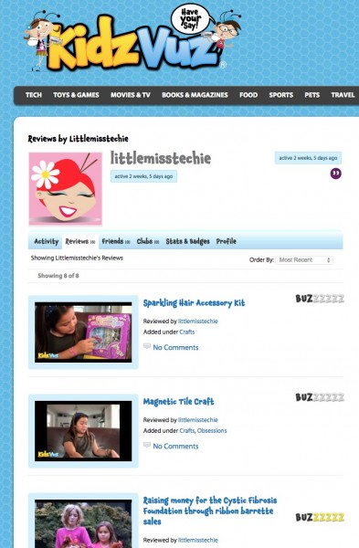 Kid reviewer page on KidzVuz.com, a safe video content creation site for kids 6 and up. Details on TechSavvyMama.com