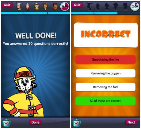 Sparky's Brain Busters Response Screen