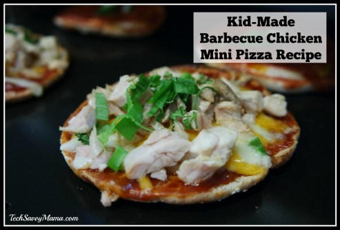 Kid-Made Barbecue Chicken Mini Pizza Recipe on TechSavvyMama.com