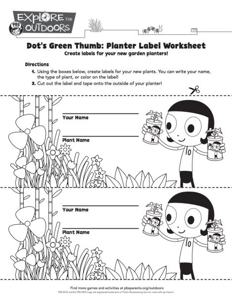 Dot's Green Thumb plan labels from PBS Kids and more unplugged Earth Day fun on TechSavvyMama.com