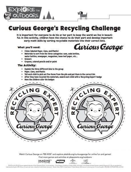Curious George Recycling Challenge badges from PBS Kids and more unplugged Earth Day fun on TechSavvyMama.com