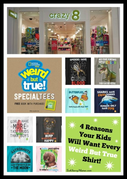 4 Reasons Your Kids Will Want Every Weird But True Shirt from Crazy 8 w Giveaway on TechSavvyMama.com