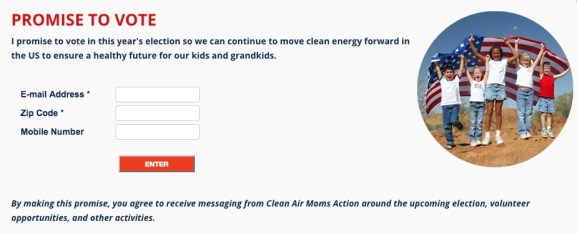 Clean Air Moms Action pledge to vote on November 8