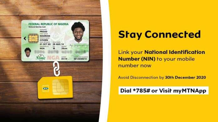 how to link mtn number with nin
