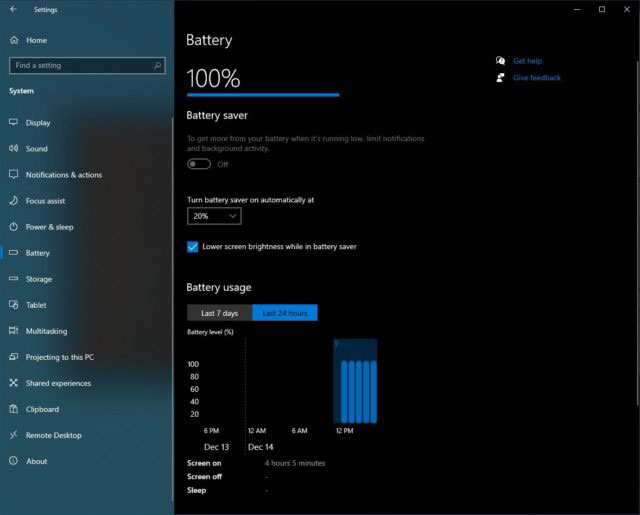 Windows 10 21H2 Update Battery Usage Graph