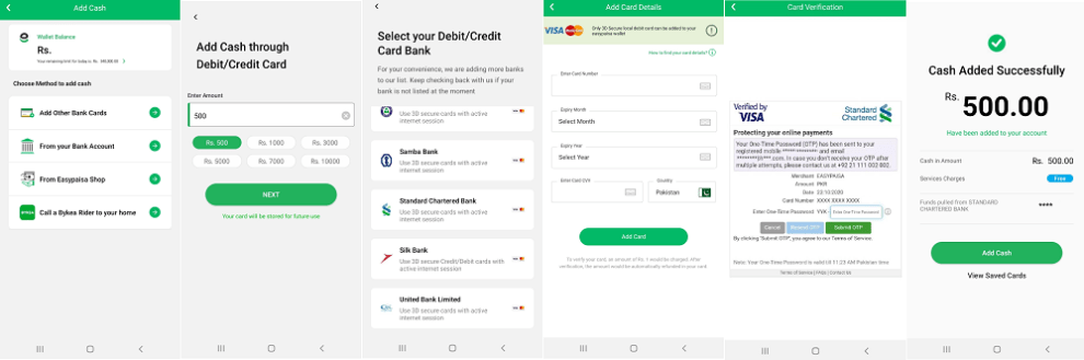 Easypaisa App Users can now Add Cash to their Easypaisa Mobile Account via Online Transaction