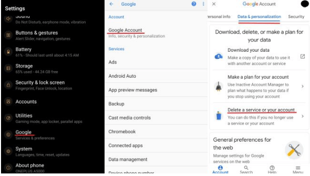 Delete The Gmail Account(Android)