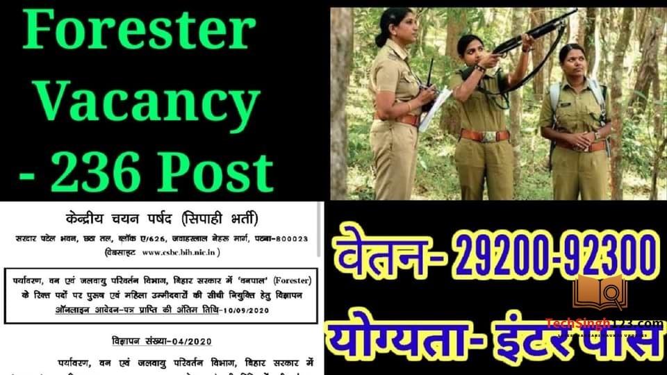 Bihar Forester Recruitment 2020-21 बिहार वनपाल भर्ती