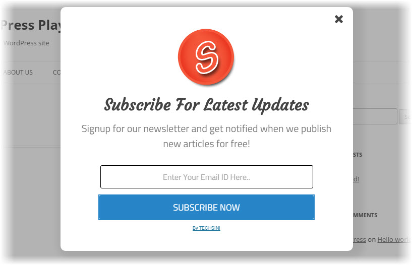 elegant subscription popup