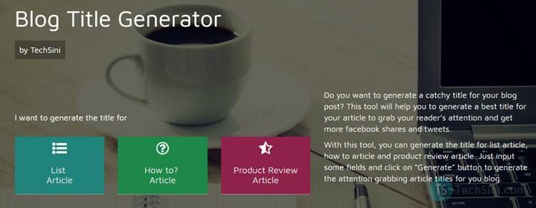 Blog Title Generator by TechSini