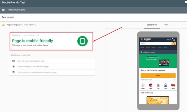 Amazon mobile friendly test