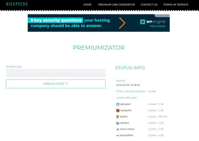 BigSpeeds premium link generator