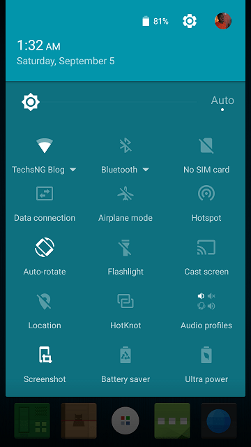 Notification tray on the infinix hot note x551 lollipop