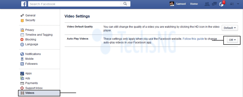facebook video autoplay on web version