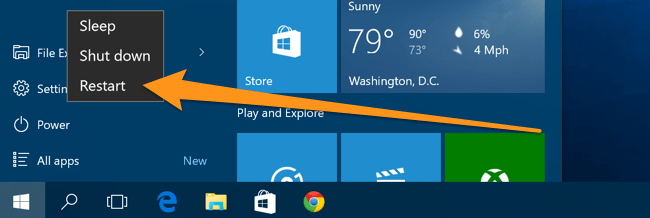 restart PC on windows 8.1 and windows 10