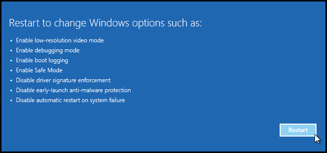 restart options on computer running windows 10